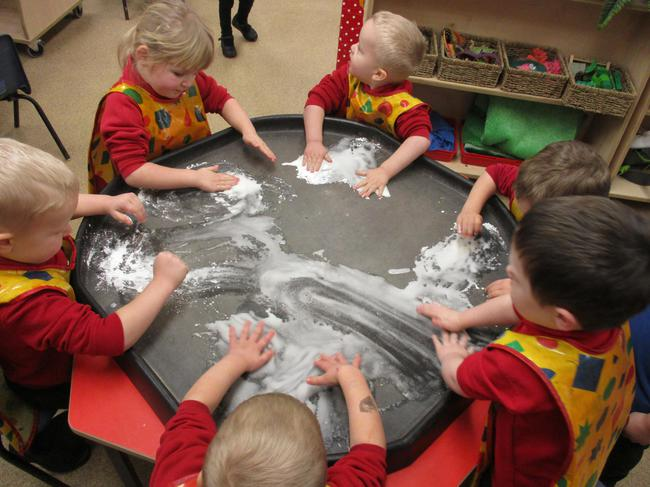 Experimenting with cornflour!