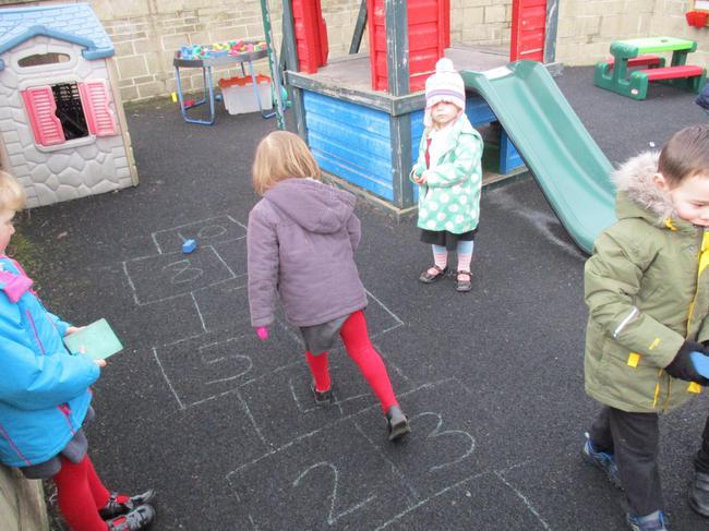 We enjoy hopscotch!