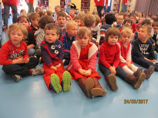Our first assembly to watch the Red Nose Day show