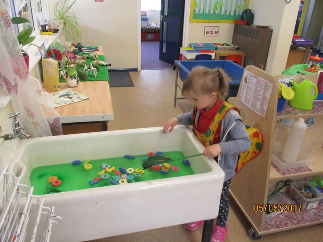Fishing for initial letters in the water tray
