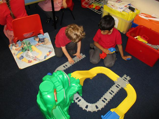 We followed instructions to set up a train track