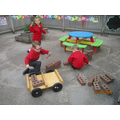 building outside with realloose parts