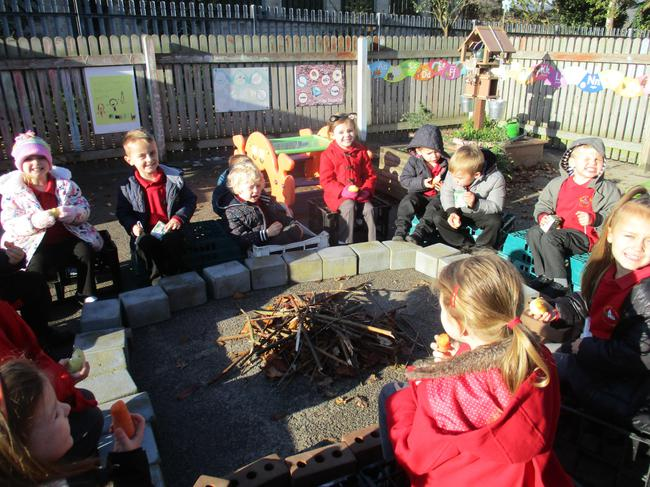 We had snack around our own pretend bonfire.