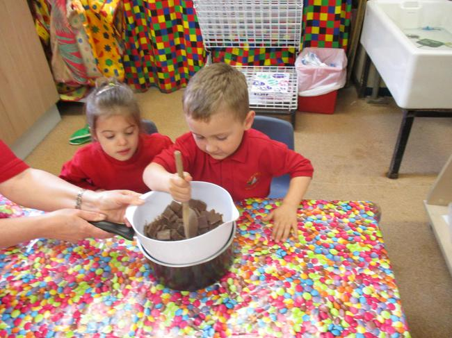 Making our Easter chocolate nests!