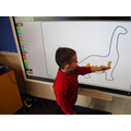 Decorating the dinosaur template!