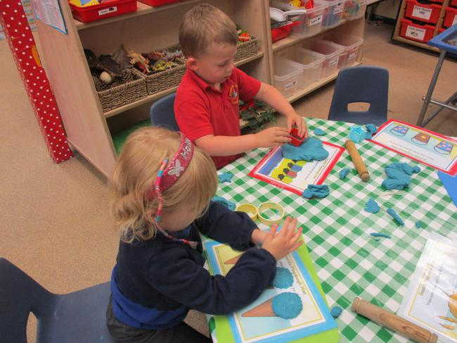 Play dough and the seaside mats.