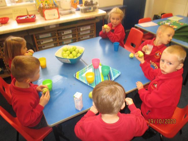 sharing healthy food