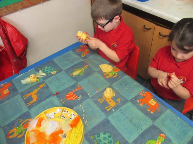 We moulded, shaped and added beaks, legs and eyes.