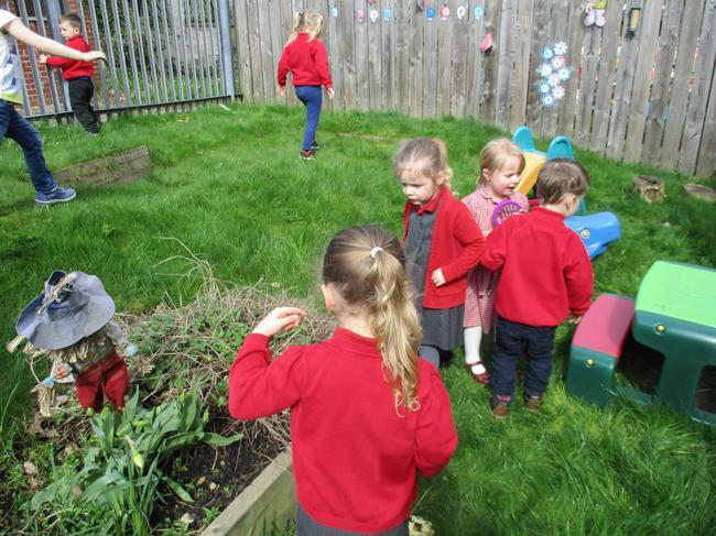Enjoying the sunshine in the garden area!