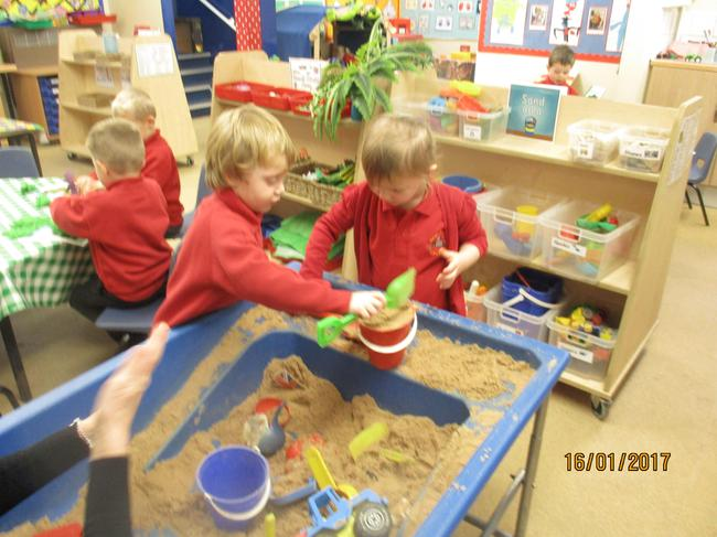 Exploring in the sand tray