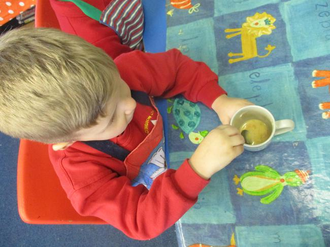 Physical Development - mixing the egg
