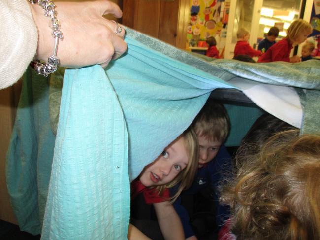 We made a dark den...