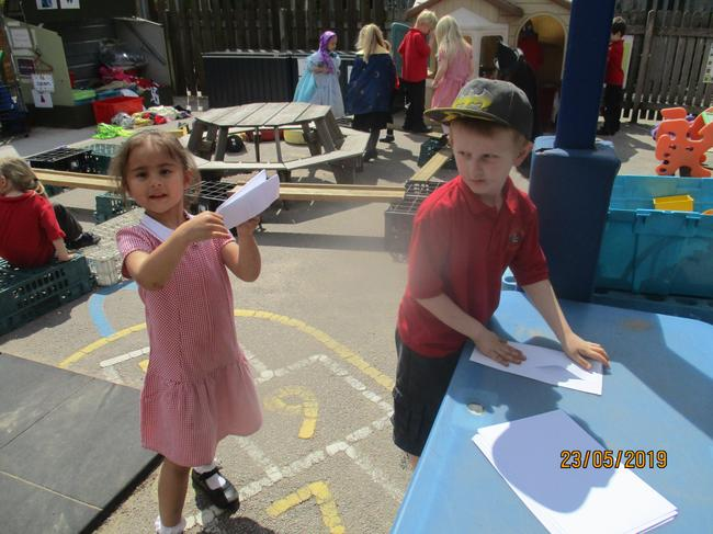 We made paper aeroplanes