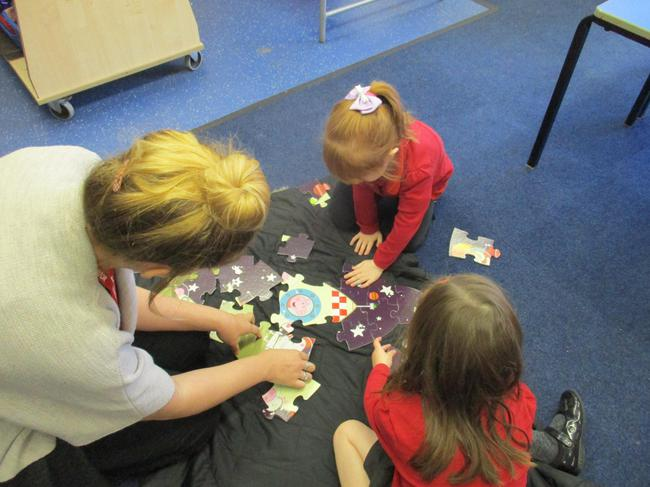 We worked together to complete a rocket jigsaw
