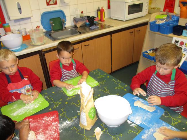 We baked bread. It's hard work being a baker!