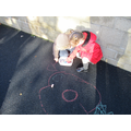 Drawing poppies on the playground!
