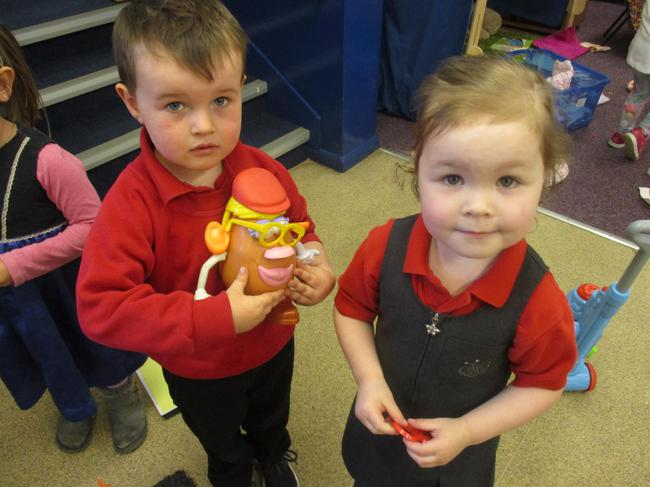 Creating our own potato heads!