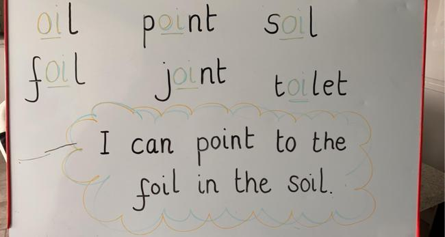 Please read words and sentence remember to make the oi sound.