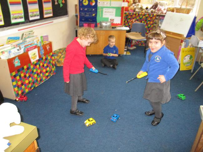 Controlling our remote control cars.