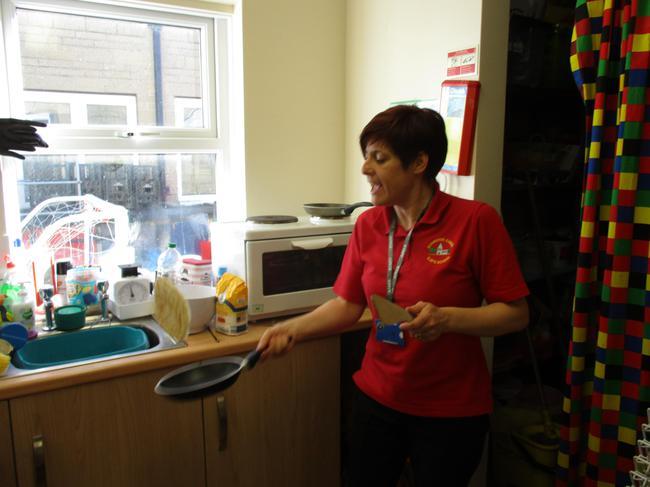 Mrs Treeweek flipping the pancake!