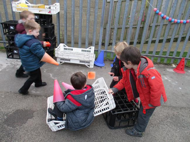 We made  a sledge from crates.