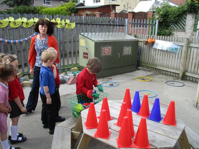 We used traffic cones to play number games
