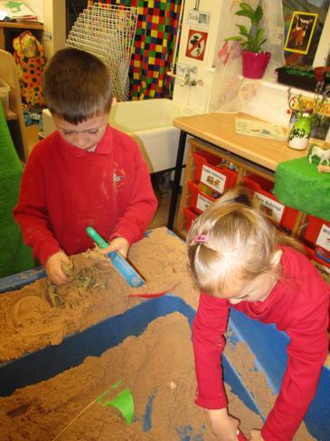 Excavating dinosaur bones!