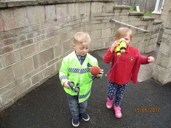 Using binoculars outside
