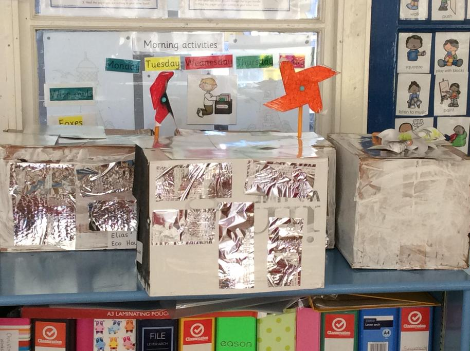 We constructed Eco houses with solar panels and wind turbines .