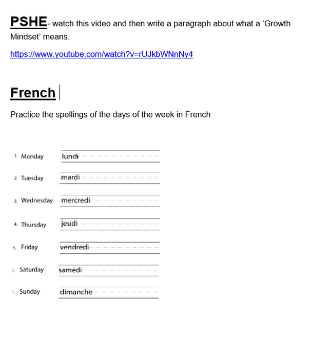 French and PSHE