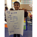 """I made a poster with all our senses"""