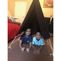 Enjoying their tent.