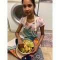 Fatiha prepared a fruit salad