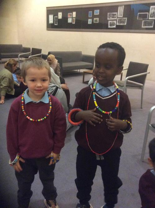 We looked at shape & colour in the Africa exhibit.