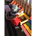 We used ice to cook in the mud kitchen