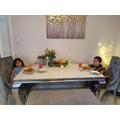 Muna and Zak enjoying their family restaurant