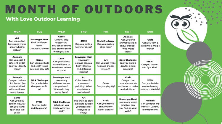 Here are a few activities to keep you busy learning outdoors too!