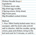 Toby's instructions for chicken noodle soup! 🥢