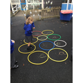 S, ready to have a go at hopping from hoop to hoop