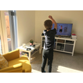 Zack completing his daily exercise with Joe Wicks!