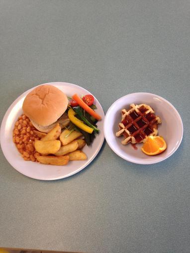 Pork and apple burger; Pancakes