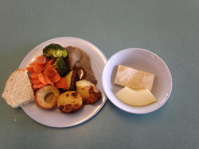 Roast beef and vegetables; Shortbread finger