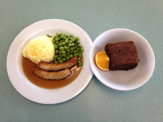 Sausage and mash; choc sponge cake