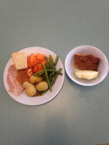 Roast gammon & vegetables; Fruity scrunch flapjack