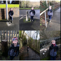 Looking for cylinders on our walk.