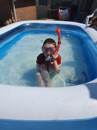Bryn snorkelling in his pool!