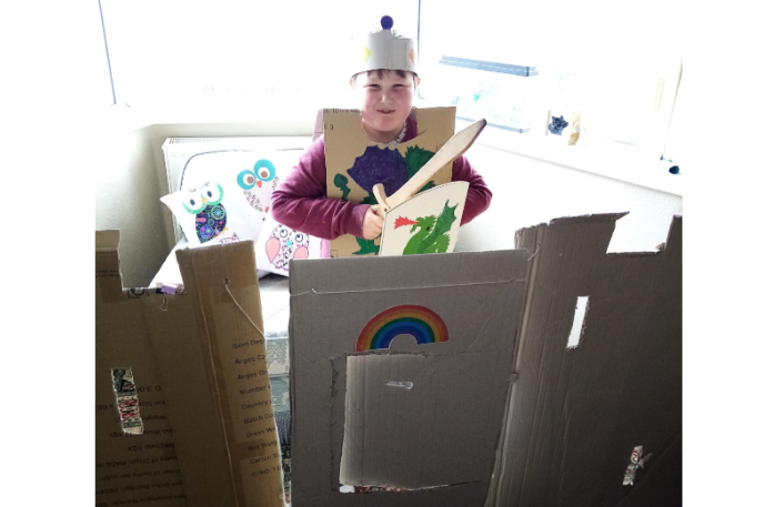 Harrison and his  mam  made a very special welsh castle – Harrison  even had a very comfy throne and armour !