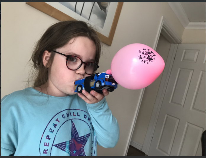 Keira made a balloon powered car in science!
