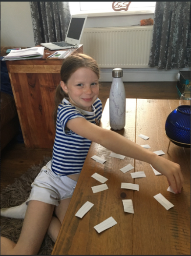 Ava played a game matching the months of the year in welsh – Da iawn