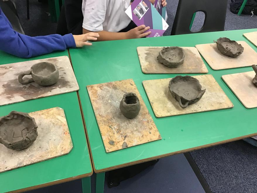 We made the Tudor pots with clay